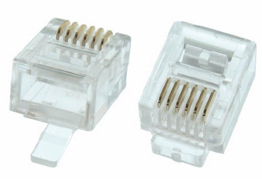 RJ12 Round Cable Modular Plugs for Telephone Cable - (6P6C) - Clear - 10pk, Cables & Adapters, TechCraft - TiGuyCo Plus