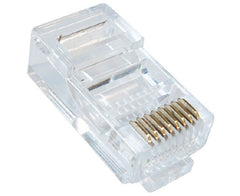 RJ45 Round Cable Modular Plugs for Twisted Pair Stranded Cable - (8P8C) - Clear - 10pk