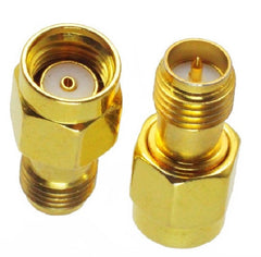 RP-SMA Male to RP-SMA Female Adapter - Straight - Gold - Pack of 2 Adapters - 41923