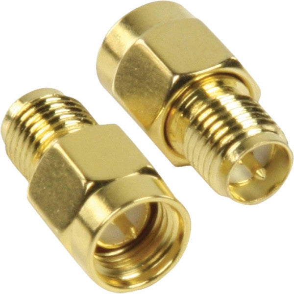 SMA Male to RP-SMA Female Adapter - Straight - Gold - Pack of 2 Adapters - 41921, Cables & Adapters, TGCP - TiGuyCo Plus