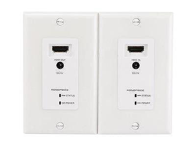 HDMI Over CAT5E / CAT6 Extender Wall Plate w/ LED Indicator (Pair) - Single Port (1P) - White, Video Cables & Interconnects, Monoprice - TiGuyCo Plus