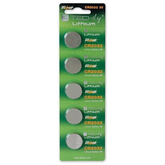 TECHly 3V Lithium Button Batteries - CR2032 - 5-Pack, Batteries, TECHly - TiGuyCo Plus