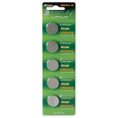 TECHly 3V Lithium Button Batteries - CR2032 - 5-Pack