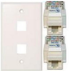 TechCraft Cat5e Keystone Kit - Double Keystone Wallplate & Jack Combo - White