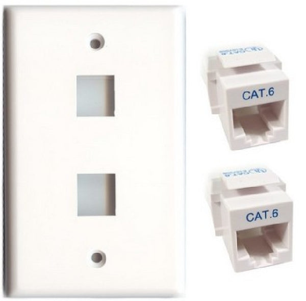 TechCraft Cat6 Keystone Kit - Double Keystone Wallplate & Jacks Combo - White, Wallplates, TechCraft - TiGuyCo Plus