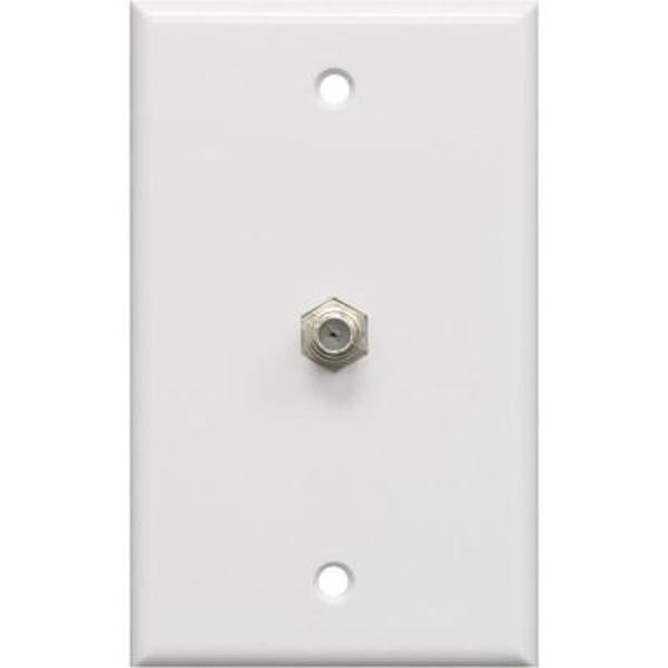 Coaxial F-Type 1-Gang Wallplate - Single Jack Adapter - White, Wallplates, TechCraft - TiGuyCo Plus