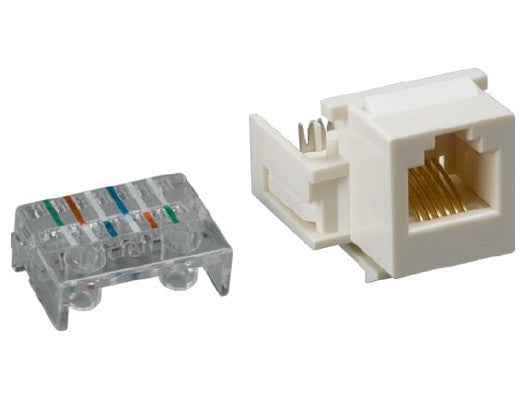 RJ12 - RJ11 110 Type Toolless Keystone Jack - 6P6C - White, Cables & Adapters, Various - TiGuyCo Plus
