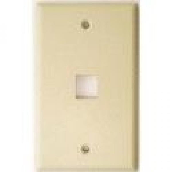 TechCraft Single Keystone Jack Flush Wallplate - Ivory, Wallplates, TechCraft - TiGuyCo Plus
