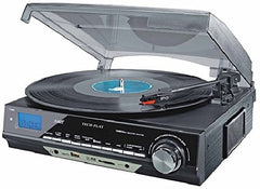 TechPlay ODC18-BS 3-Speed Turntable with SD USB, MP3 Encoding System, AM-FM Stereo Radio and Built-in Speakers - ODC18-BS