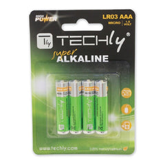 TECHly - AAA 1.5V Super Alkaline Batteries - LR03 - 4/Pack