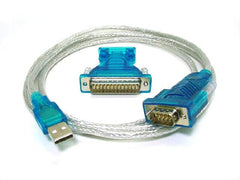 USB 2.0 to RS232 (DB9 & DB25) Serial Interface Adapter Cable - Blue