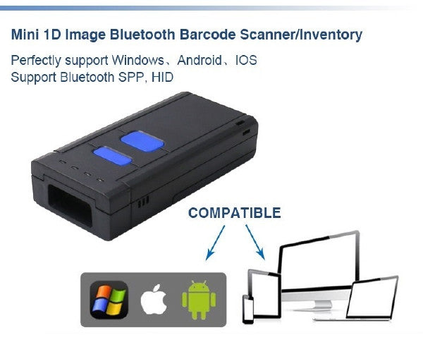 Wireless Auto Sense Mini Pocket Laser Barcode Scanner - Bluetooth 4 0 - 1D  CCD - Windows - Android - iOS - OS System