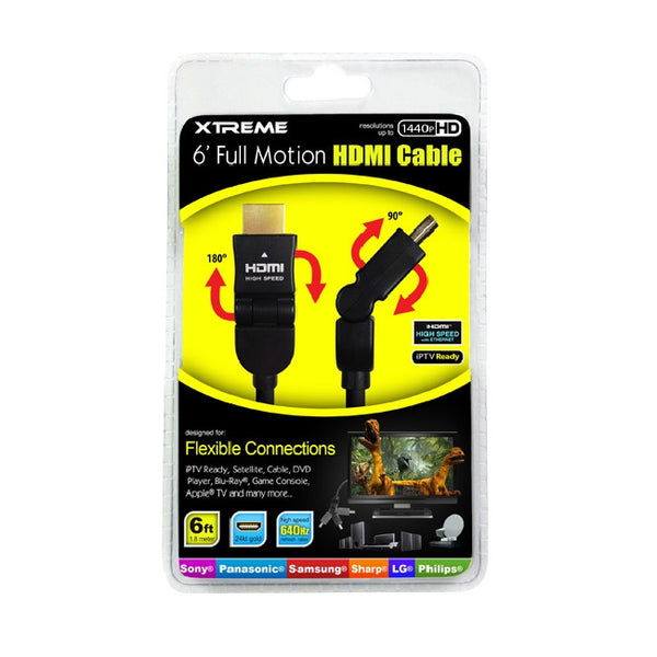 6 ft. Xtreme Full Motion HDMI Cable - Black, Video Cables & Interconnects, Xtreme - TiGuyCo Plus