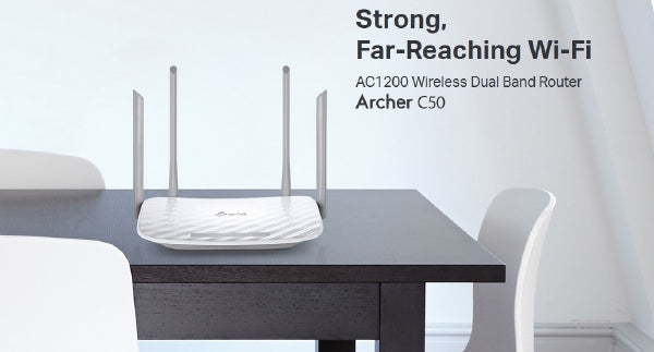 tp-Link Archer C50 AC1200 Dual Band Router with 4 External Antennas - White