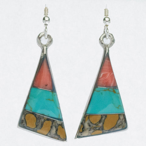 Mexican Earrings Triangle 3 Colour Pink/Turquoise/Brown
