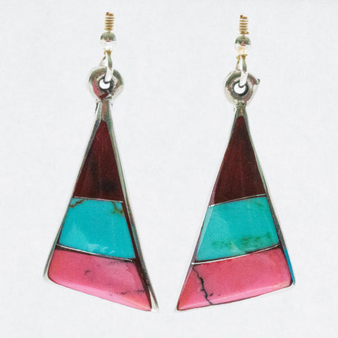 Mexican Earrings Triangle 3 Colour Red/Turquoise/Pink