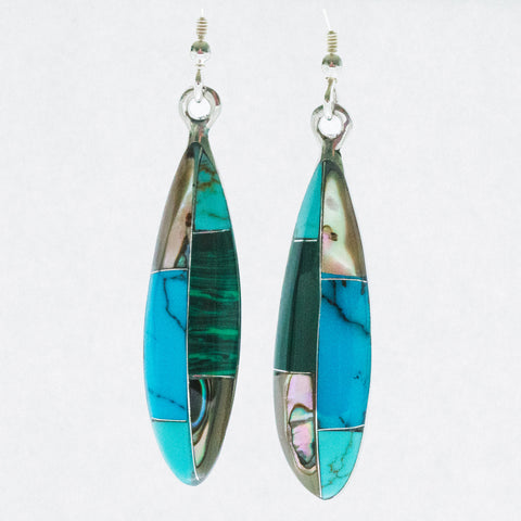 Mexican Earrings Narrow Ellipse with Abalone