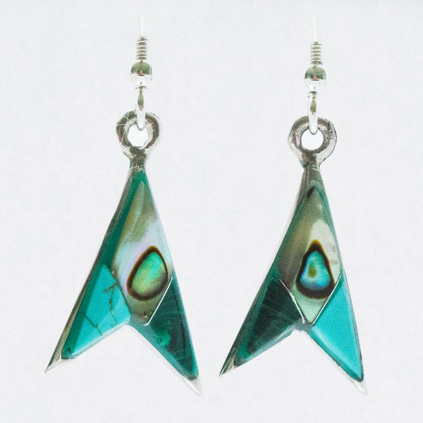 Mexican Earrings Arrowhead with Abalone