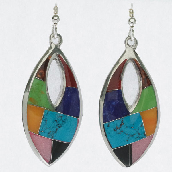 Mexican Earrings Mosaic Multi Coloured Leaf