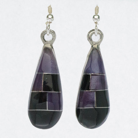Mexican Earrings - Small Teardrop Black Mosaic