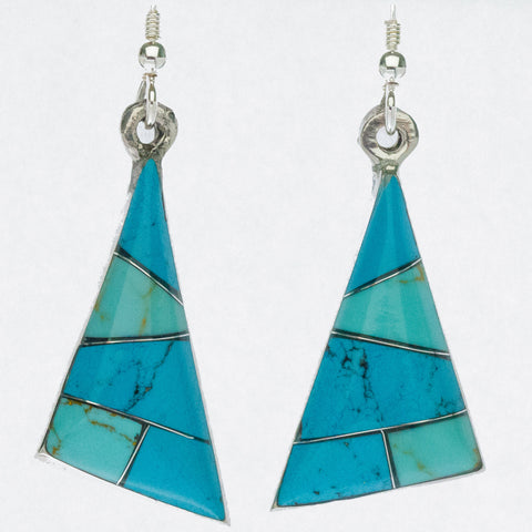 Mexican Earrings Triangle Blue, Turquoise