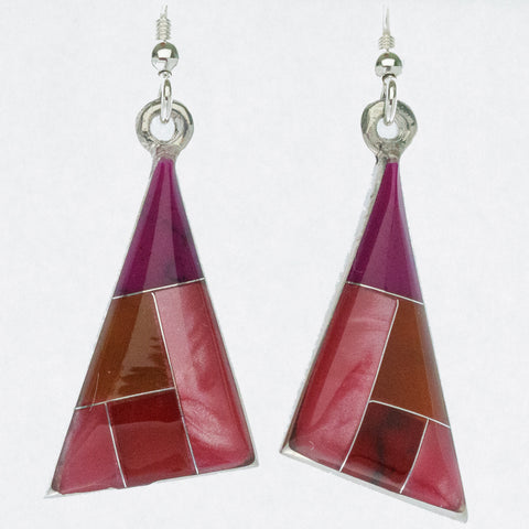 Mexican Earrings Triangle Pink, Red, Brown, Purple