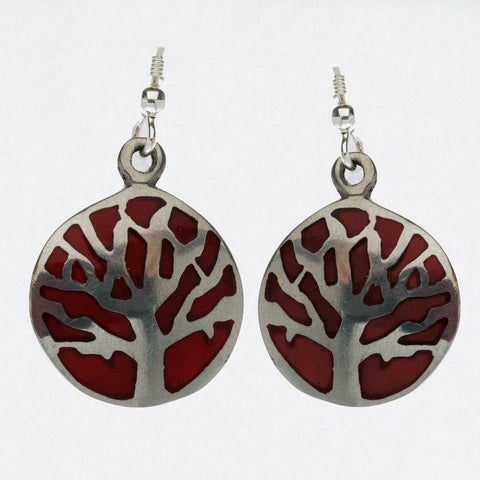 Mexican Earrings Tree of Life Red