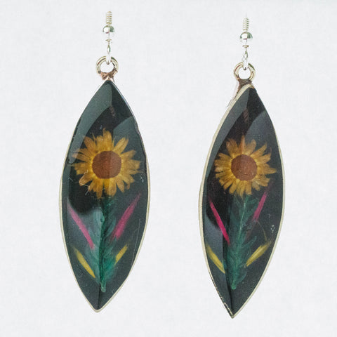 Mexican Earrings Dried Flower Elipse