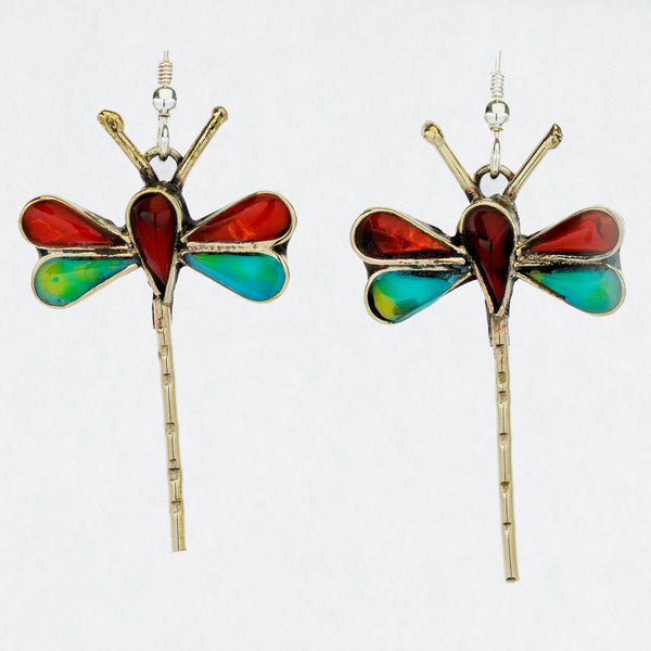 Mexican Earrings Dragonflies - red, blue, green