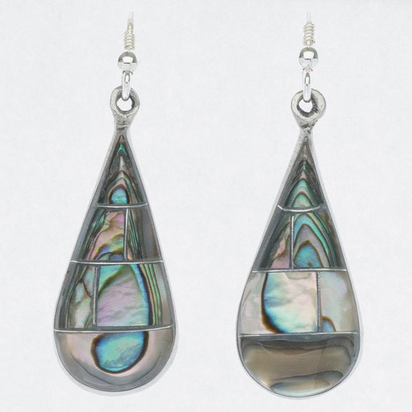 Mexican Earrings Large Teardrop Abalone Mosaic