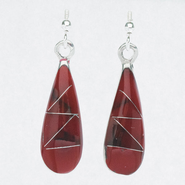 Mexican Earrings Small Teardrop Red Zig Zag