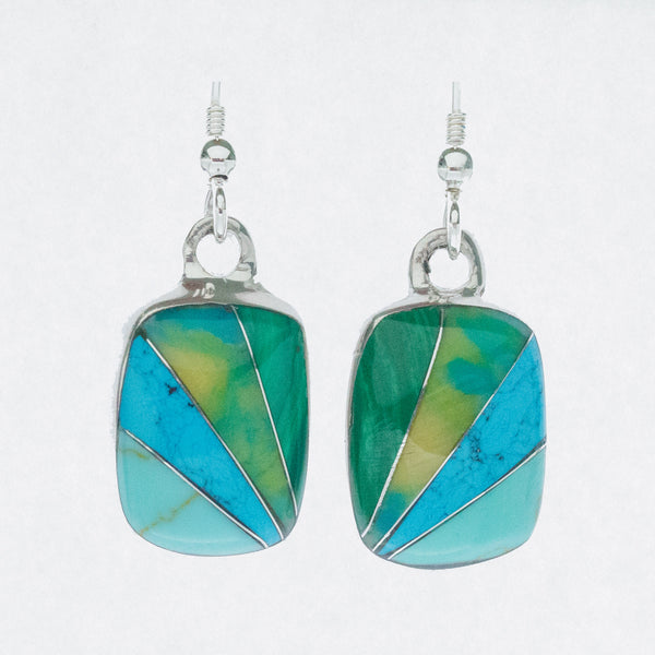 Mexican Earrings Small Rectangle Blue, Turquoise