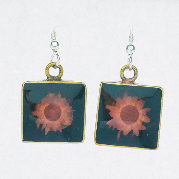 Mexican Earrings Small Square Dried Flower
