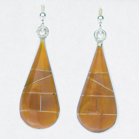 Mexican Earrings Large Teardrop Brown-Orange