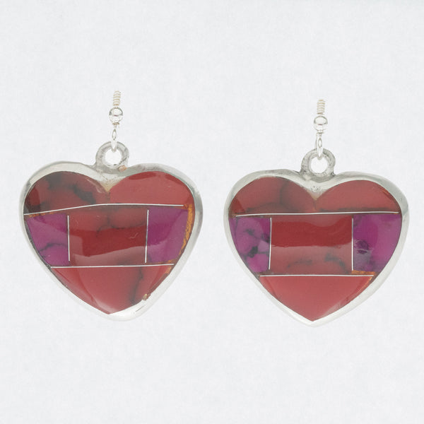 Mexican Earrings Large Heart Red, Purple Mosaic