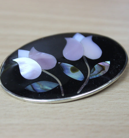Brooch - Oval Black/Abalone Flower