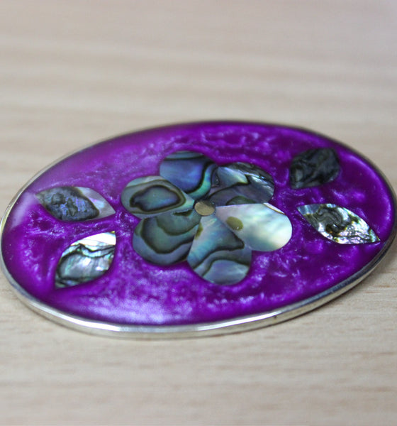 Brooch - Oval Purple/Abalone Flower