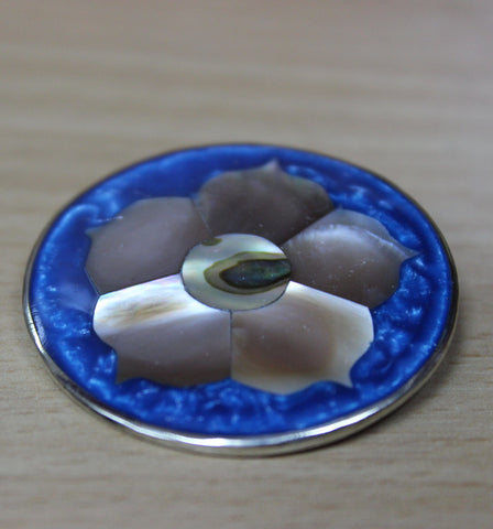 Brooch - Round Blue/Abalone Flower