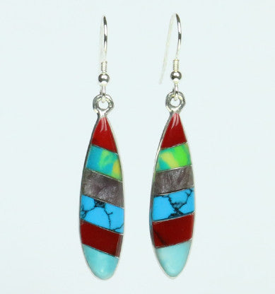 Mexican Earrings Ellipse 6 Colour Stripes