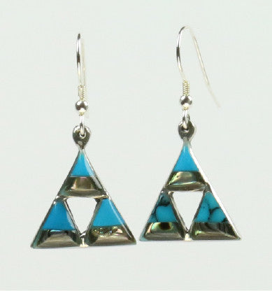 Mexican Earrings 3 Small Triangles with Abalone