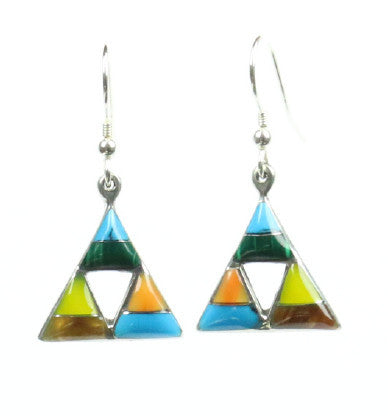 Mexican Earrings Multicoloured Triangles