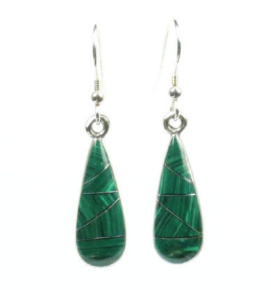 Mexican Earrings Small Teardrop Dark Green