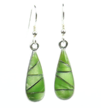 Mexican Earrings Small Teardrop Light Green