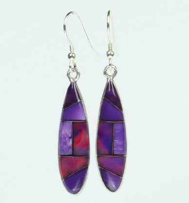 Mexican Earrings Ellipse Purple Mosaic