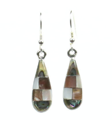 Mexican Earrings Small Teardrop Brown Abalone Mosaic