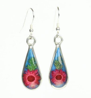 Mexican Earrings Teardrop Dried Flower Red