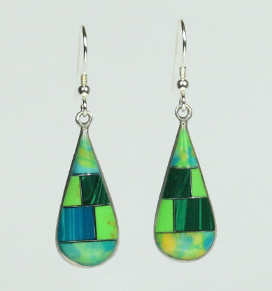 Mexican Earrings Teardrop Green Mosaic