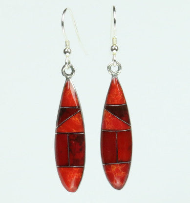 Mexican Earrings Ellipse Red Mosaic
