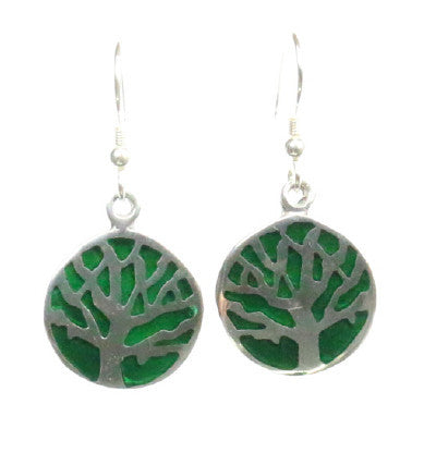 Mexican Earrings Tree of Life Green
