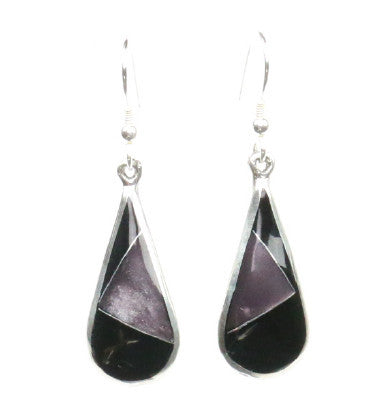 Mexican Earrings Teardrop Black/Grey